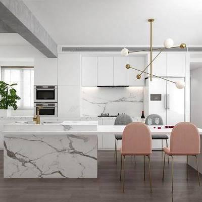 北欧简约, 厨房, 桌椅组合, 厨具, 吊灯, 植物, 下得乐3888套模型合辑