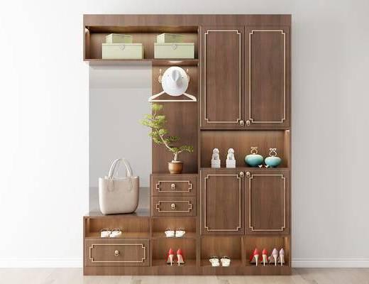 摆件组合, 鞋柜, 盆栽, 新中式