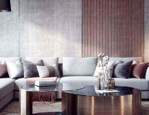 沙发组合, 多人沙发, 落地灯, 茶几, 现代