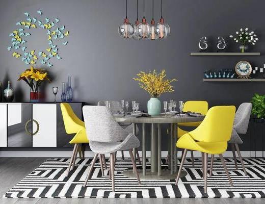 现代简约, 桌椅组合, 吊灯, 装饰品