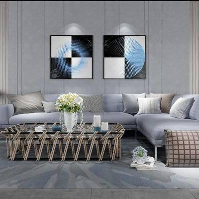 沙发组合, 多人沙发, 椅子, 茶几, 花瓶, 边几, 台灯, 现代