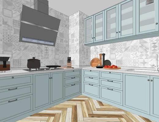厨房, 北欧, 简约, 蓝色, 橱柜