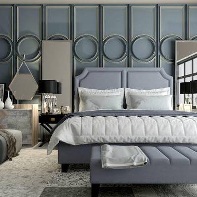 床具组合, 双人床, 边几, 台灯, 相框, 地毯, 欧式