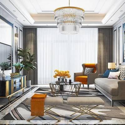 后现代客厅, 吊灯, 壁画, 多人沙发, 茶几, 椅子, 边几, 台灯, 电视柜, 凳子, 花瓶, 地毯, 后现代