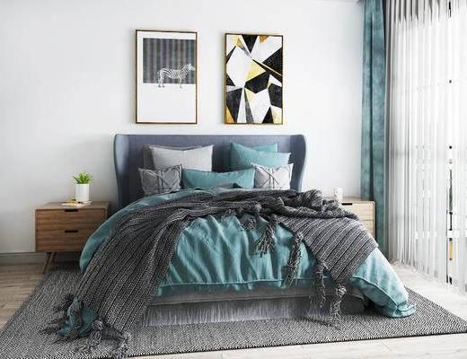 双人床, 挂画, 床头柜, 床具组合, 北欧