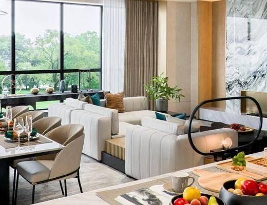 现代客厅, 现代餐厅, 客厅餐厅, 客厅, 沙发组合