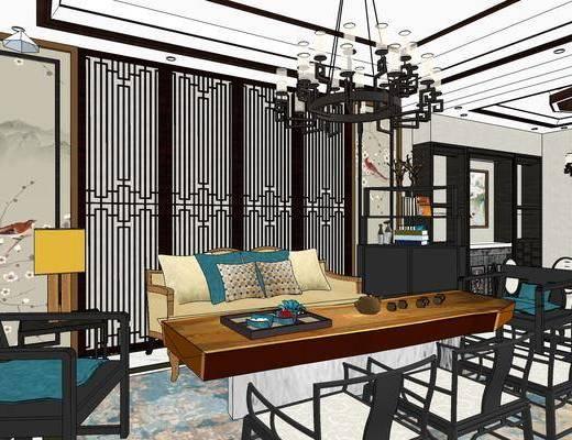 客厅, 沙发, 吊灯, 餐厅, 餐桌, 椅子, 桌椅组合, 台灯, 边几, 茶几, 新中式, 新中式客厅, 现代客厅