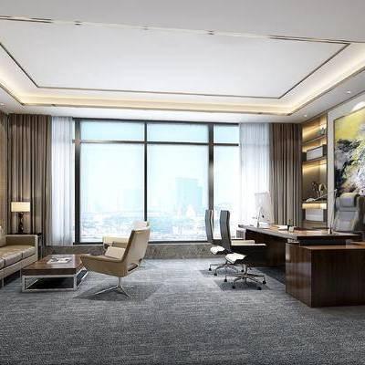 现代办公室, 多人沙发, 壁画, 茶几, 桌子, 椅子, 台灯, 边几, 置物柜, 现代