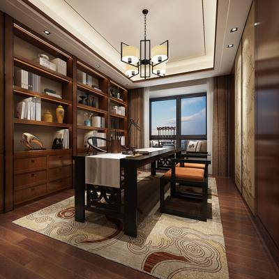 新中式书房, 吊灯, 桌子, 椅子, 置物柜, 地毯, 新中式