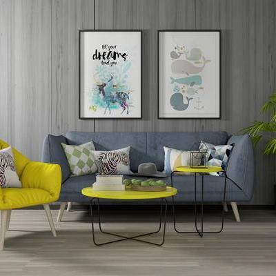 沙发组合, 多人沙发, 椅子, 壁画, 茶几, 盆栽, 北欧