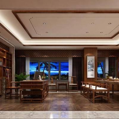 新中式办公室, 置物柜, 桌子, 椅子, 壁画, 新中式