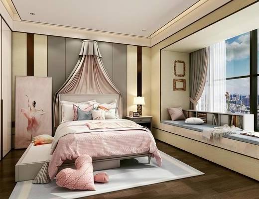 北欧, 卧室, 床, 台灯, 床头柜, 抱枕, 装饰画, 书籍, 书架
