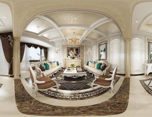 欧式客餐厅, 吊灯, 桌子, 多人沙发, 椅子, 茶几, 壁灯, 边柜, 壁画, 欧式