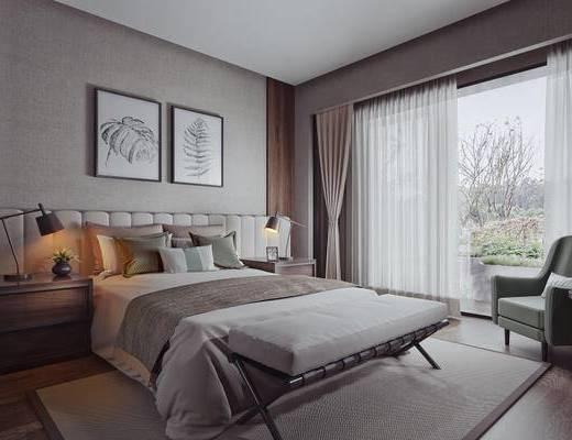 现代简约, 卧室, 床具组合, 台灯