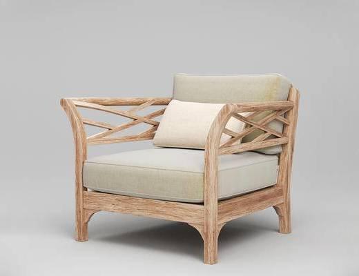 现代简约, 单人沙发, 美国RestorationHardware, 现代沙发