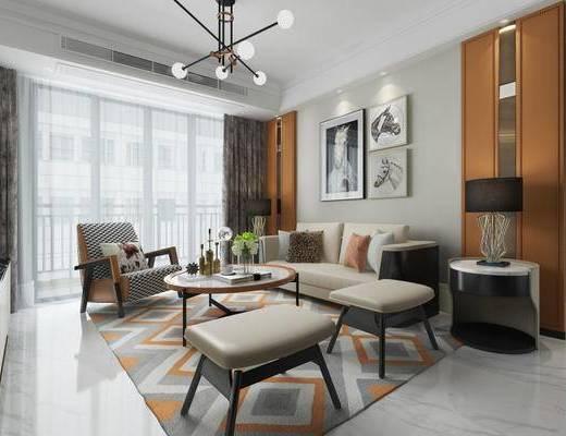 现代, 客厅, 沙发, 茶几, 吊灯, 台灯, 挂画, 摆件, 陈设品
