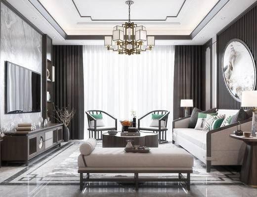 新中式客餐厅, 吊灯, 多人沙发, 电视柜, 置物柜, 边几, 台灯, 壁画, 椅子, 茶几, 沙发躺椅, 新中式