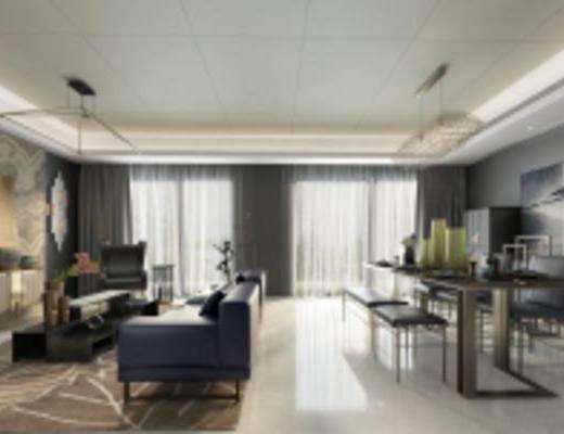 现代客厅, 沙发茶几组合, 吊灯, 桌椅组合, 柜子, 摆件组合, 壁画, 地毯, 现代