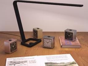 现代简约, 书籍, 办公用品组合, 台灯, 时钟