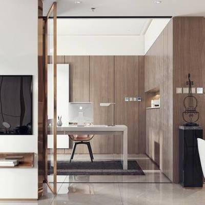 现代客厅, 桌子, 椅子, 置物柜, 边几, 现代