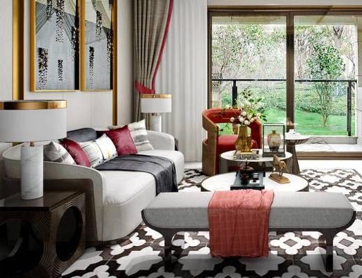 新中式, 客厅, 沙发, 茶几, 电视柜, 挂画, 窗帘, 花瓶, 摆件, 台灯