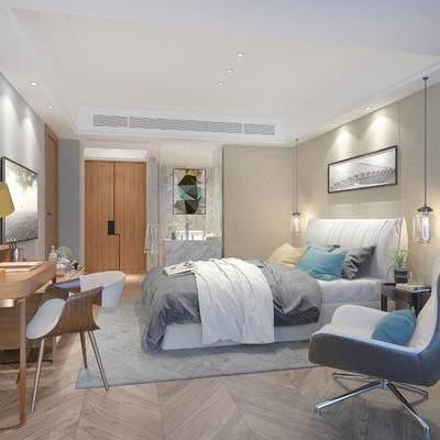 现代宾馆, 双人床, 椅子, 壁画, 吊灯, 桌子, 台灯, 柜子, 地毯, 现代
