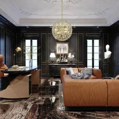欧式, 书房, 沙发茶几组合, 吊灯, 桌椅组合, 陈设品组合