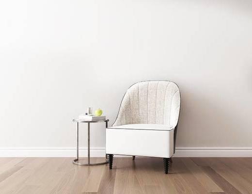 桌椅组合, 单椅, 椅子, 圆几, 现代