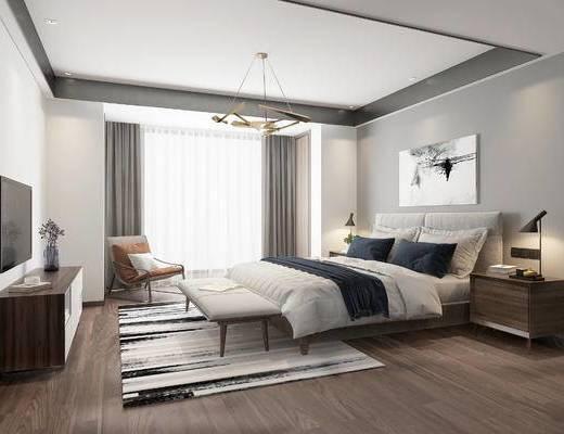 现代卧室, 双人床, 床尾凳, 床头柜, 单椅, 边柜, 现代