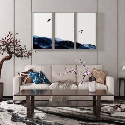 沙发组合, 多人沙发, 茶几, 壁画, 边几, 盆栽, 新中式