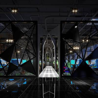 走廊过道, 桌子, 椅子, 网吧, 现代