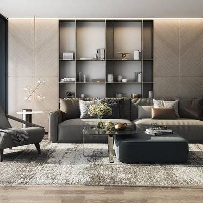 沙发组合, 多人沙发, 椅子, 茶几, 储物架, 边几, 吊灯, 沙发凳, 盆栽, 地毯, 现代