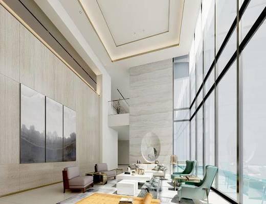 新中式客厅, 壁画, 椅子, 茶几, 多人沙发, 凳子, 新中式