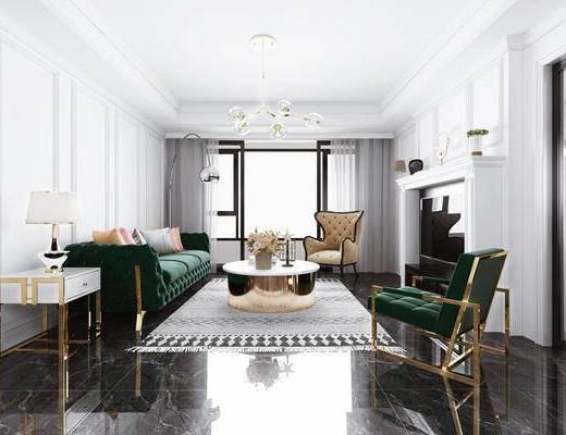 现代客厅, 古典客厅, 现代沙发, 现代吊灯, 椅子, 台灯, 茶几
