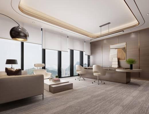 现代简约, 办公室, 吊灯, 沙发茶几组合, 植物盆栽