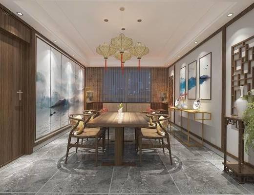 中式餐厅, 吊灯, 壁画, 桌子, 椅子, 边几, 花瓶, 中式
