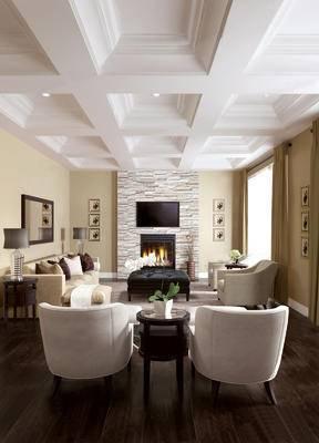 美式客厅, 沙发茶几组合, 壁画, 边几, 台灯, 沙发凳, 盆栽, 镜子, 美式