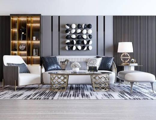 现代沙发组合, 双人沙发, 单椅, 沙发凳, 茶几, 墙饰, 边几, 置物柜, 现代