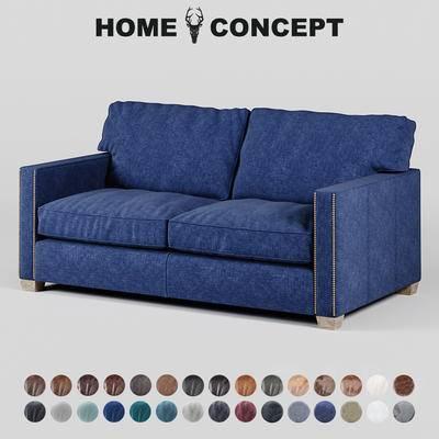 美式复古双人沙发, 美式双人沙发, 复古双人沙发, 双人沙发