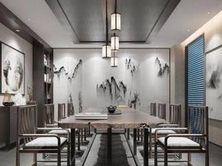 新中式会所茶室3D模型
