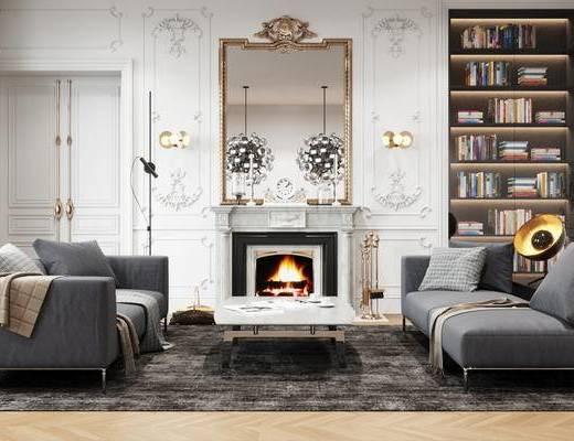 欧式简约, 沙发组合, 装饰镜, 置物架, 书籍