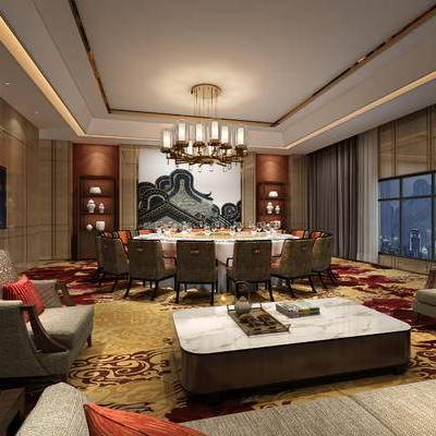 中式客餐厅, 多人沙发, 吊灯, 壁画, 茶几, 桌子, 椅子, 置物柜, 中式