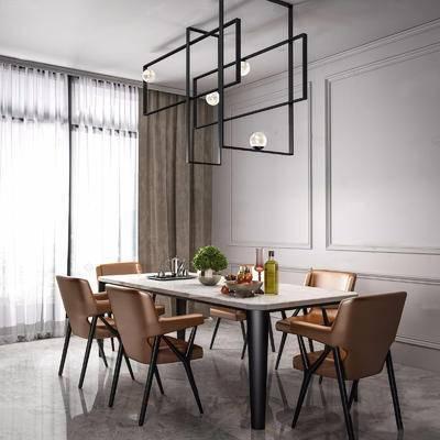 现代简约, 桌椅组合, 吊灯, 植物, 日用品, 现代