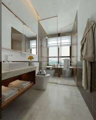 卫生间, 洗手台, 马桶, 淋浴间, 毛巾, 洗漱用品, 现代