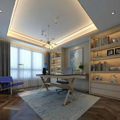 新中式书房, 吊灯, 桌子, 椅子, 置物柜, 壁画, 落地灯, 新中式