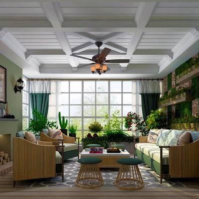 客厅, 吊灯, 多人沙发, 壁画, 台灯, 边柜, 茶几, 椅子, 盆栽, 壁灯, 置物架, 地毯, 简欧