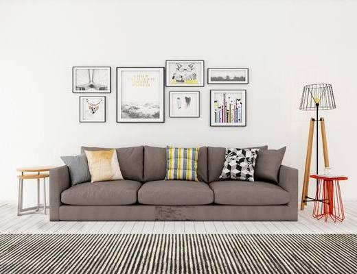 多人沙发, 边几, 落地灯, 壁画, 现代