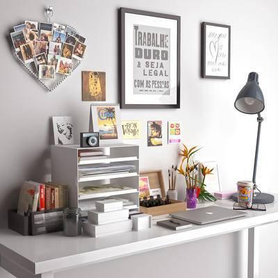 北欧, 摆件组合, 书桌, 墙饰, 收纳箱, 台灯