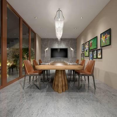 会议室, 桌子, 椅子, 壁画, 吊灯, 现代