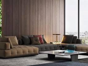 现代多人沙发组合, 茶几, 台灯, 装饰摆件组合, 地毯, 边几, 现代